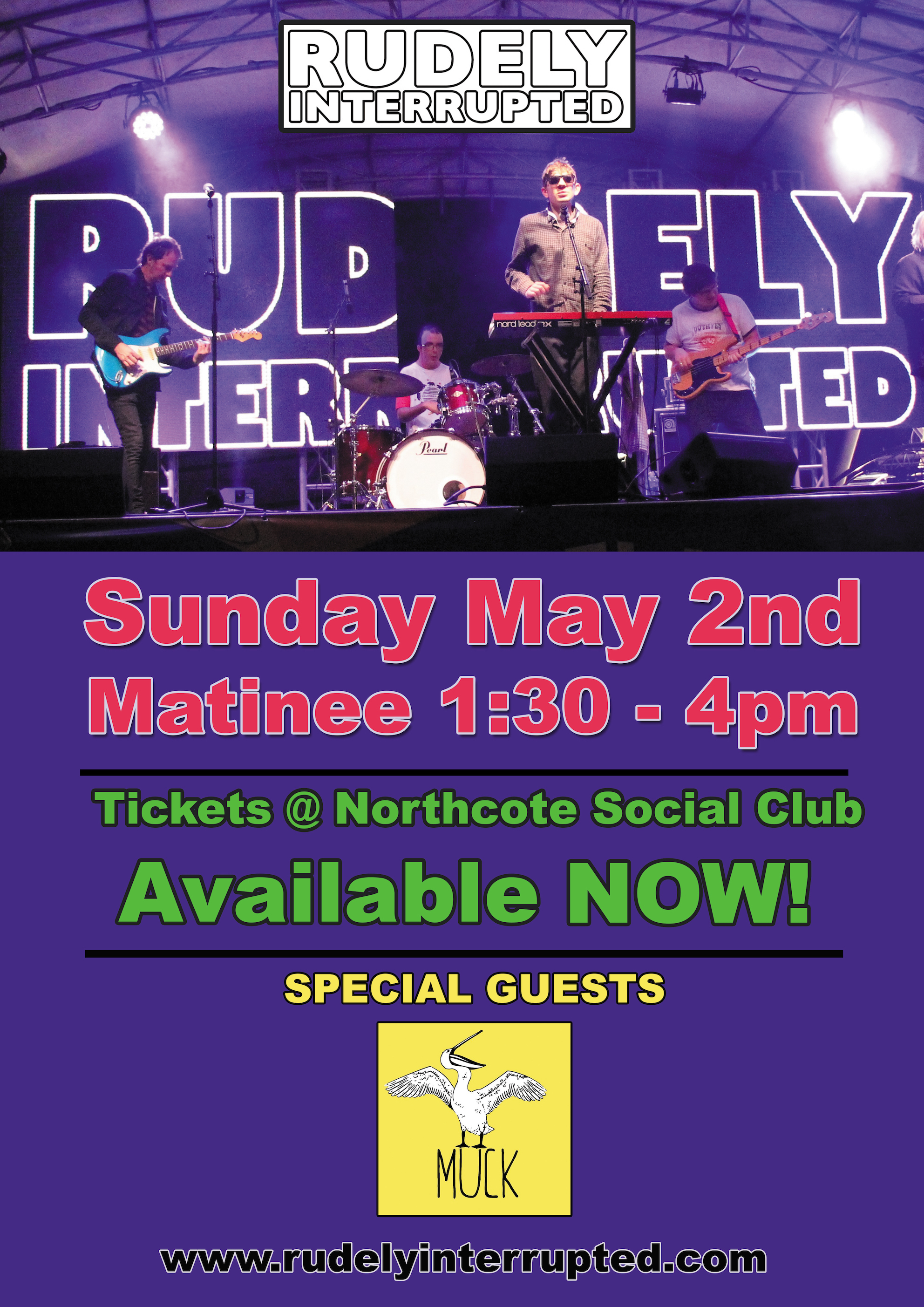 Rudely Interrupted Live @ the Northcote Social Club May 2nd Matinee 1:30-4pm